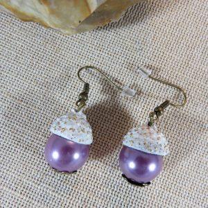 Boucles d'oreille chapeau de gland avec perle violette, bijoux femme