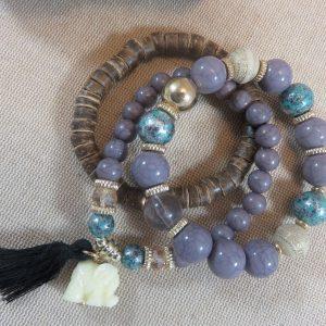 Bracelet manchette violet éléphant et perles – bracelets bohème bijoux femme