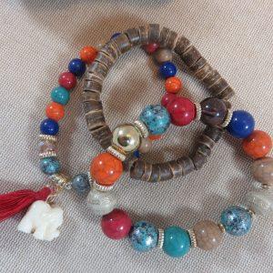 Bracelet manchette arc-en-ciel éléphant et perles – bracelets bohème bijoux femme