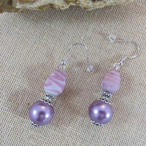 Boucles d'oreille violette parme – cadeaux bijoux femme