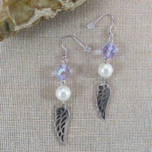 Boucles d'oreille aile d'ange perlé – bijoux pour femme