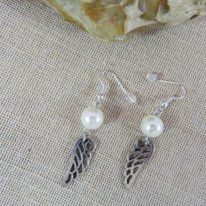 Boucles d'oreille perlée aile d'ange – bijoux cadeaux femme