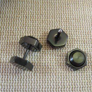Puces d'oreille boulon noir double face – bijoux punk mixte