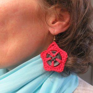 Boucles d'oreille crocheté coquelicot textile bijoux femme