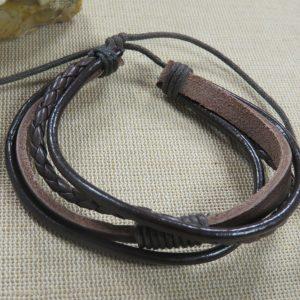 Bracelet cordon cuir marron bijoux homme à fermoir coulissant – cadeaux fêtes des pères