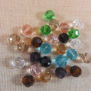 25 Perles de verre facetté 8mm assortiment – ensemble de 25 perles pour fabrication bijoux