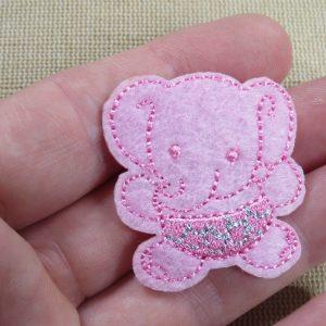 Patch bébé éléphant rose thermocollant – écusson éléphanteau Rose pour layette