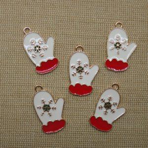 Pendentifs moufle de Noël métal émaillé rouge blanc – lot de 5