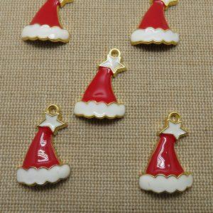 Pendentifs chapeau Noël métal émaillé rouge blanc – lot de 5