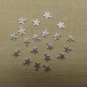 Breloques étoile argenté 10mm petit pendentif – lot de 15