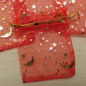 Sachets organza rouge lune étoile doré 9cmx7cm – lot de 10
