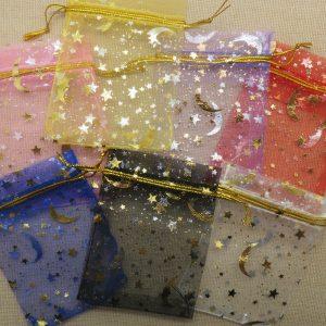 Sachets organza multicolore lune étoile doré 9cmx7cm – lot de 10