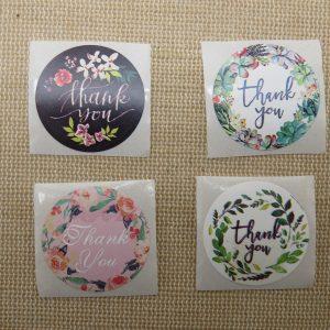 Étiquettes Thank You fleuri autocollante – lot de 25 stickers rond 25mm