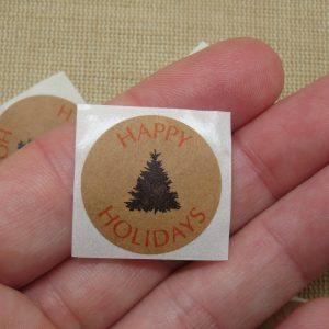 Étiquettes Happy Holidays autocollante avec sapin noir – lot de 25 stickers rond 25mm