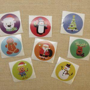 Étiquettes Noël autocollante cadeaux – lot de 25 stickers rond 25mm