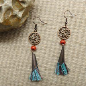 boucles d'oreille arbre de vie pompon bohème – bijoux femme