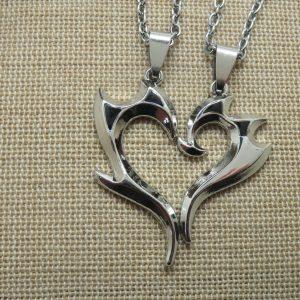 Collier de couple cœur tribal argenté – bijoux pour couple – lot de 2 colliers pour Femme et Homme