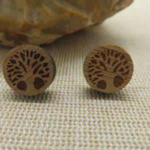 Boucles d'oreille arbre de vie en bois – puces bijoux femme ou homme