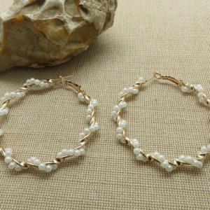 Créole grand anneaux boucles d'oreille perlé doré bijoux femme