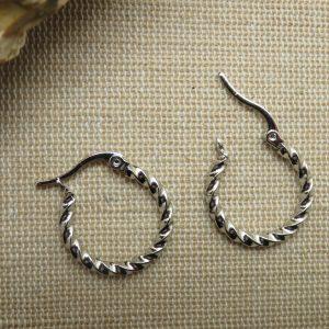Créole boucles d'oreille anneaux torsadé acier inoxydable argenté