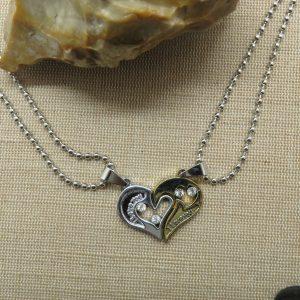 Collier cœur yin yang argenté doré – cadeaux bijoux de couple
