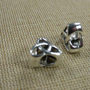 Perles nœud celtique argenté 11mm gros trous – lot de 2