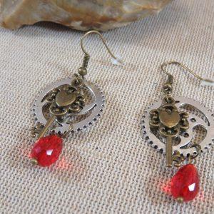 Boucles d'oreille steampunk bijoux engrenages et clés