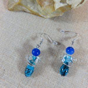 Boucles d'oreille Fée bleu bijoux cadeaux femme