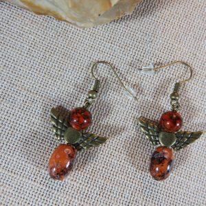 Boucles d'oreille ange marron steampunk – bijoux femme