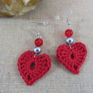 Boucles d'oreille cœur rouge crocheté bijoux textile femme