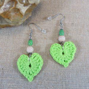 Boucles d'oreille cœur vert crocheté bijoux textile femme