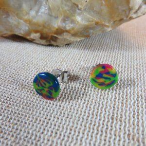Boucles d'oreille pate polymère puces multicolore bijoux femme