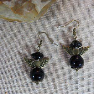 Boucles d'oreille Ange noir et bronze bijoux femme