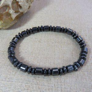 Bracelet perlé rock hématite noir bijoux pour Femme et Homme