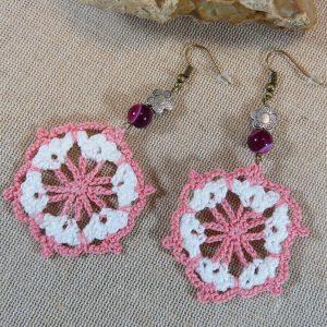 Bijoux artisanal unique boucles d'oreille crocheté mandala – bijoux textile femme