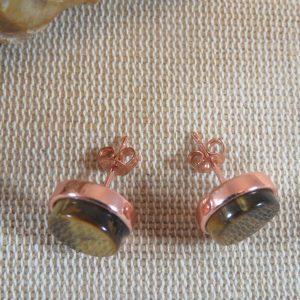 Puces d'oreille Œil de tigre bijoux femme