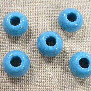 Perles rond plat bleu turquoise 15mm en acrylique – lot de 5