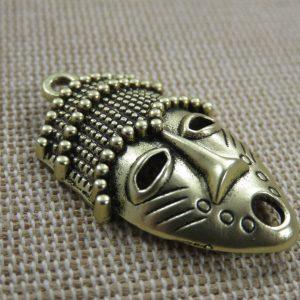 Pendentif masque ethnique or vieilli 33mm pour fabrication bijoux