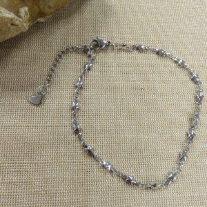 Bracelet chaine de cheville étoile argenté et cœur – bijoux femme
