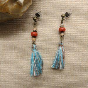 Pompon turquoise boucles d'oreille bohème bijoux femme