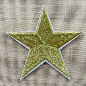 Patch étoile Or thermocollant 75mm – écusson textile à repasser