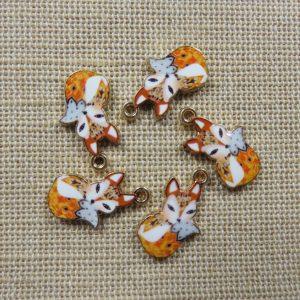 Breloques renard roux gris métal émaillé 19mm – lot de 5 pendentifs