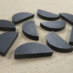 Perles demi-lune noir en bois 30mmx14mm – lot de 10