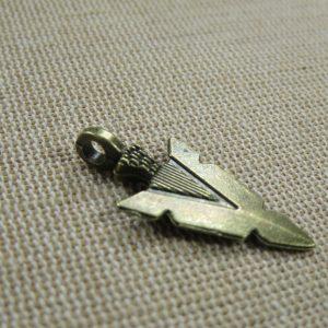 Pendentif pointe de flèche bronze 30mm breloque création bijoux Punk