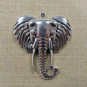 Pendentif tête éléphant argenté hindou Ganesh 55mm en métal