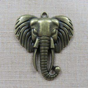 Pendentif tête éléphant bronze hindou Ganesh 55mm en métal