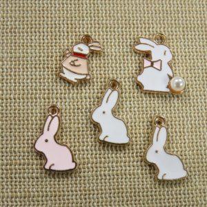 Breloques lapin animaux métal émaillé – lot de 5