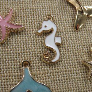 Breloques océan animaux métal émaillé – lot de 5