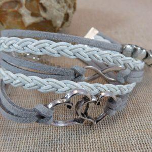 Bracelet cœur infini cordon multi-rang – cadeaux bijoux femme
