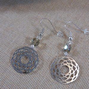 Boucles d'oreille mandala métal inoxydable bijoux pour femme